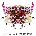 unusual colorful butterfly... | Shutterstock .eps vector #725294761