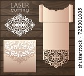 die laser cut wedding card... | Shutterstock .eps vector #725301085