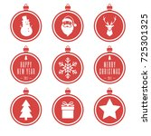red christmas balls set....   Shutterstock . vector #725301325