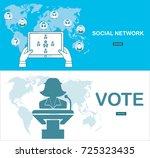 social network concept. flat... | Shutterstock . vector #725323435