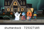 kids wearing monsters costumes... | Shutterstock .eps vector #725327185
