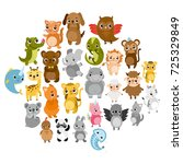 cute vector zoo.  animals. hare ... | Shutterstock .eps vector #725329849