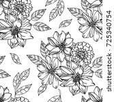 Floral seamless pattern with graphic black and white flowers. For textile, book covers, manufacturing, fabric, cloth design, wallpapers, print.