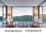 pool villa living room with... | Shutterstock . vector #725343415