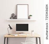 Poster frame mockup industrial. 3d rendering.