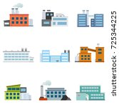 set of factories. industrial... | Shutterstock .eps vector #725344225