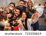 cheerful group of people with... | Shutterstock . vector #725350819