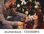 cheerful couple in love... | Shutterstock . vector #725350891