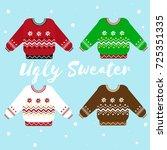 cute christmas ugly sweater... | Shutterstock .eps vector #725351335