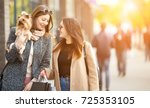friends are happy shopping ... | Shutterstock . vector #725353105