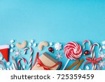 blue background with composed...   Shutterstock . vector #725359459