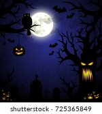 halloween night spooky... | Shutterstock .eps vector #725365849