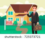 buying a new home. the realtor... | Shutterstock .eps vector #725373721