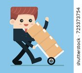 businessman carries boxes on...   Shutterstock .eps vector #725373754