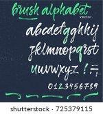 hand painted brush alphabet.... | Shutterstock .eps vector #725379115