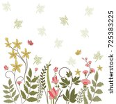 hand drawn flower edge border... | Shutterstock .eps vector #725383225