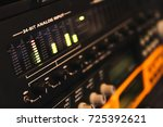 Small photo of input signal level on professional studio audio interface for music background