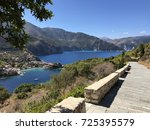 assos seen by the road to the... | Shutterstock . vector #725395579