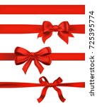 set of red bows on white.... | Shutterstock . vector #725395774