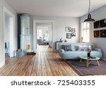 the modern interior.... | Shutterstock . vector #725403355