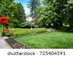 beautiful lawn with flowers in... | Shutterstock . vector #725404591