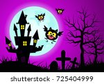 halloween with dark castle and... | Shutterstock .eps vector #725404999