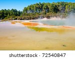Artist Palette and  Champagne Pool at Wai-O-Tapu  geothermal area in  New Zealand - stock photo