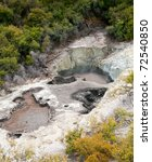 Devil's Ink Pots pools at Wai-O-Tapu  geothermal area in  New Zealand - stock photo