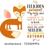 autumnal greeting card with... | Shutterstock .eps vector #725409991