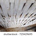 wall build from wicker bamboo ... | Shutterstock . vector #725429695