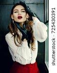 indoor portrait of a young... | Shutterstock . vector #725430391