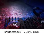 dj's hands are busy mixing... | Shutterstock . vector #725431831