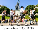 MUNICH, GERMANY - SEPTEMBER 26: traditional dancing group at the biggest folk festival in the world - the octoberfest on september 26, 2017 in munich. - stock photo