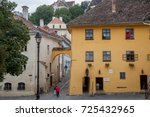 Small photo of SIGHISOARA, ROMANIA - SEPTEMBER 22, 2017: Picture of the house where Vlad Tepes, aka Vlad Dracul or Dracula was allegedly born in the 14th, in Sighisoara castle, in the center of Transylvania