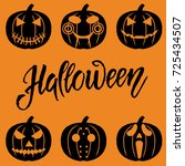 set of halloween objects ... | Shutterstock .eps vector #725434507