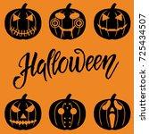 set of halloween objects ... | Shutterstock .eps vector #725434507