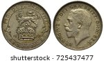 Great Britain British silver coin 6 six pence 1922, lion on crown, date below, King George V head right,