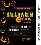 halloween party invitation with ... | Shutterstock .eps vector #725439844