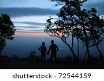 Silhouette Of Couple On...