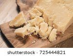 pieces of hard parmesan cheese...   Shutterstock . vector #725444821