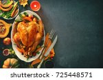 roasted whole turkey for... | Shutterstock . vector #725448571