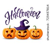 halloween background  pumpkin.... | Shutterstock .eps vector #725457814