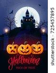 halloween background  pumpkin ... | Shutterstock .eps vector #725457895