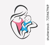 mother and baby stylized vector ... | Shutterstock .eps vector #725467969