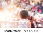 microphone on stage in concert... | Shutterstock . vector #725473411