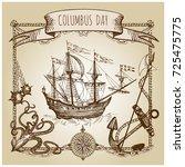 happy columbus day illustration.... | Shutterstock .eps vector #725475775