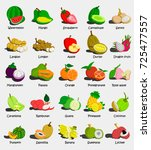 set of colorful cartoon fruit... | Shutterstock .eps vector #725477557