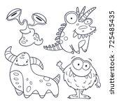 4 funny monster doodles ...   Shutterstock .eps vector #725485435