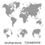 world map with globes   stock... | Shutterstock .eps vector #725485939