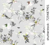 Stock photo watercolor painting of leaf and flowers seamless pattern on gray background 725487901